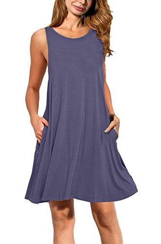 AUSELILY+Women%27s+Sleeveless+Pockets+Casual+Swing+T-shirt+Dresses+%28S%2C+Purple+Gray%29