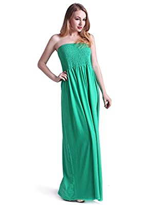 HDE Women's Strapless Maxi Dress Plus Size Tube Top Long Skirt Sundress Cover Up