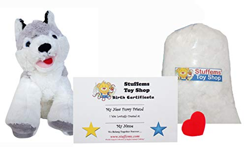 Make Your Own Stuffed Animal Mini 8 Inch Loveable Husky Dog Kit - No Sewing -
