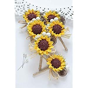 Groomsmen Sunflower Boutonnieres (Set of 6, 8, 10), Men Rustic Wedding Flower Buttonholes 117