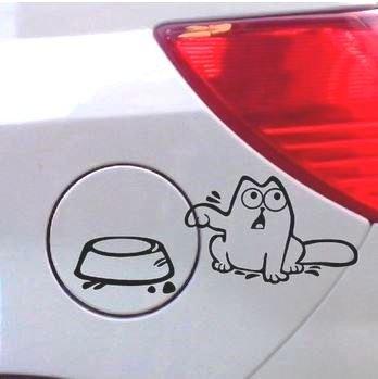 Autoaufkleber Cat Tankdeckel Futternapf Katze versch. Farben (Weiß)