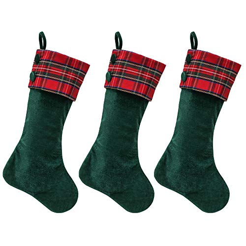 Green/Red Velvet Christmas Stockings - 3-Pack of 21 inch Holiday Stockings with Festive Red Plaid Cuff and Fabric Covered Buttons (Of Stockings Tradition Christmas)