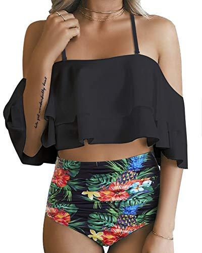 Minimalism Le Women Off Shoulder Two Piece Ruffle Bikini Set High Waist Flounce Swimsuit Print Bottom Black