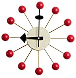 MLF George Nelson Ball Clock,Atomic Wooden Wall Clock Mid Century Antique Retro Nelson Style(Red)