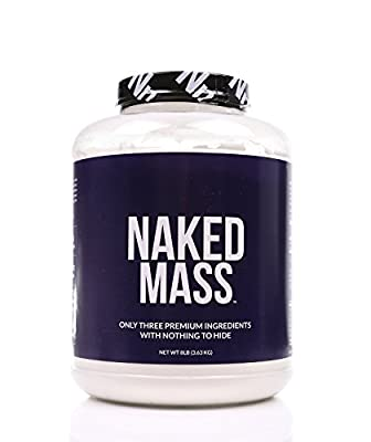 NAKED MASS - All Natural Weight Gainer Protein Powder - 8lb Bulk, GMO Free, Gluten Free & Soy Free. No Artificial Ingredients - 1,250 Calories - 11 Servings