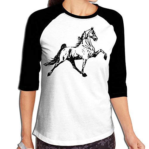 - HOI_DKH02 Tennessee Walking Horse Womens 3/4 Sleeve Contrast Raglan T Shirts Tops