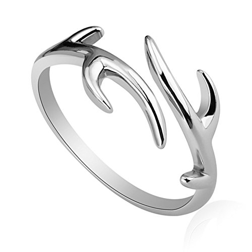 Julie's Jewelry S925 sterling silver ring opening christmas snowflake antlers anti allergy ring (Deer Ring For Women)