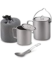 Aozzy Titanium Cup Camping 750ml Pot and 420ml Coffee Mug Set with Lid Backpacking for Your Outdoor Travel