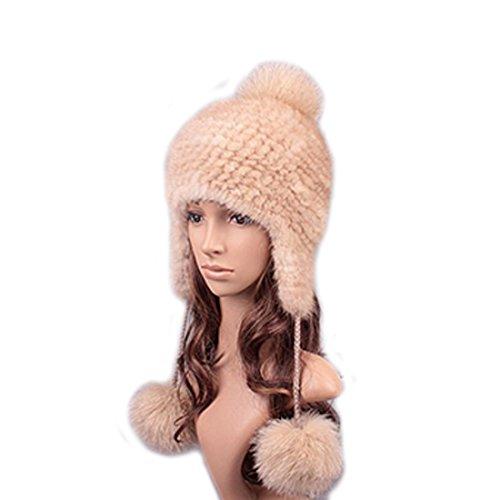 UK.GREIFF Women's Fashion Warm Stretch Mink Fur Bomber Hat Winter Cap Beige