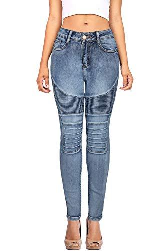 DaCoCo Women's Motorcycle Patchwork High Waist Wash Blue Jeans Denim Medium 7/8 ()