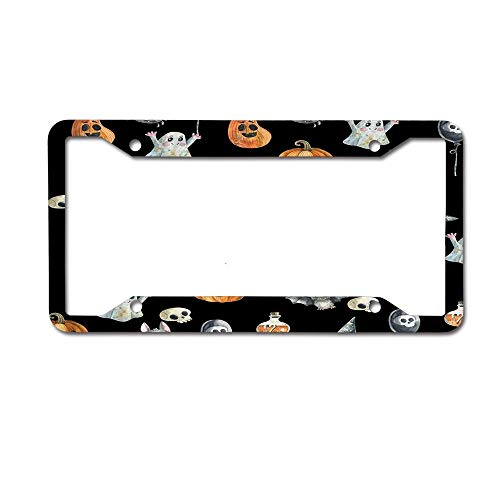 Mrsangelalouise Halloween Pumpkin Bat Ghost Spider Cute Painting Black License Plate Frame Car tag Aluminum Car Licence Plate Cover for US Standard 4 Holes Screws]()