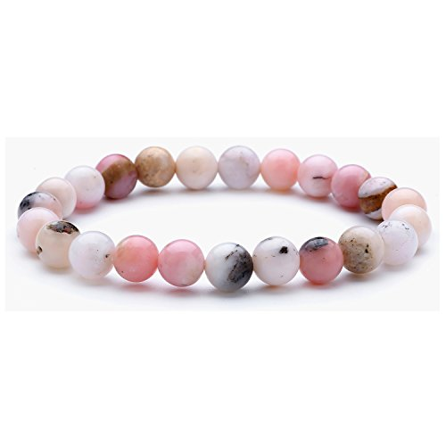 tom+alice 23pcs Beads Precious Gemstone Natural Pink Opal 8MM Beaded Stretch Bracelets Healing Pover 7.1