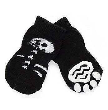 Calcetines Antideslizante cordón Halloween calavera para perro gato, BADALink Cálido Pet Socks 4 piezas: Amazon.es: Productos para mascotas