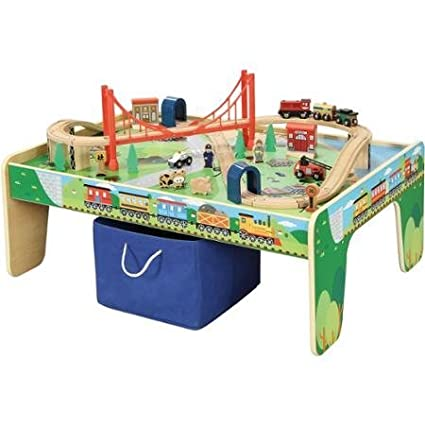 Maxim Railroad Wooden Activity Table With 50 Pc Train Set Compatible With Thomas The Train