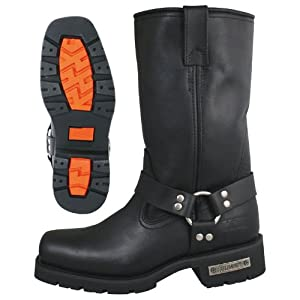 Xelement 1443 Mens Black Harness Motorcycle Biker Boots with Lug Sole - 9