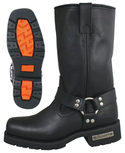 Xelement 1443 Mens Black Harness Motorcycle Biker Boots with Lug Sole - 10 1/2