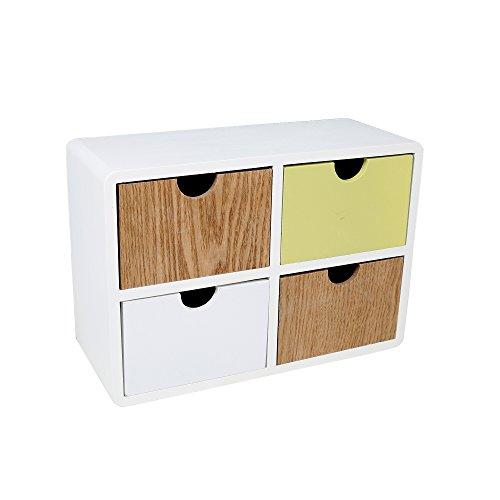 Truu Design, 4-drawer Wood Cabinet, 10 x 7 x 4 inches, Green, White by Truu Design