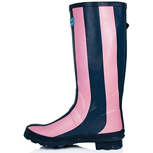 Stripe Wellington Flat High Spylovebuy Knee Festival Pink Rain Boots Wellies KARLIE OI5qxvwnqf