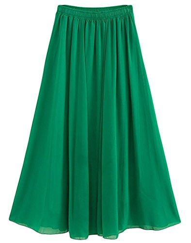 CoutureBridal Femme Jupe longue Jupe d't Elastic Ceinture Chiffon 90cm Vert
