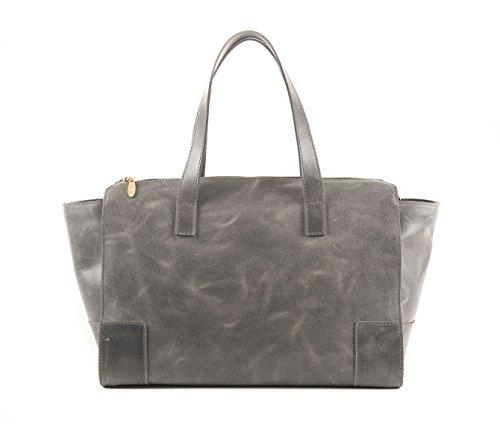 Amelia Gray Shopping Bag - Sac pour femme en cuir véritable modèle effet Vintage Passionebags Made Italy