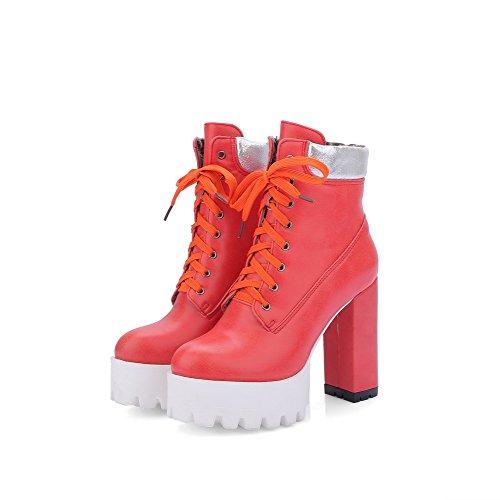 VogueZone009 Damen Hoher Absatz Weiches Material Gemischte Farbe Schnüren Stiefel, Rot, 38