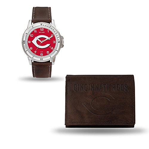 Rico Industries MLB Cincinnati Reds Men's Watch and Wallet Set, Brown, 7.5 x 4.25 x 2.75-Inch