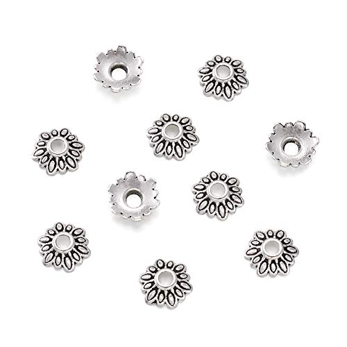 Craftdady 200Pcs Antique Silver Alloy Flower Spacer Bead Caps 8mm Tibetan Bali Style Lead Free & Cadmium Free Metal Floral Bead End Caps for DIY Jewelry Making ()