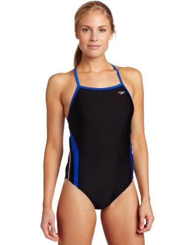 Speedo Women's Rapid Splice Xtra Life Lycra Energy Back Performance Swimsuit, Black/Blue, - Lycra Swimsuit Speedo