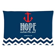 Red Chevron Hope Anchor Pillowcase Zippered Pillow Case 16x24 Standard Size(Twin sides)