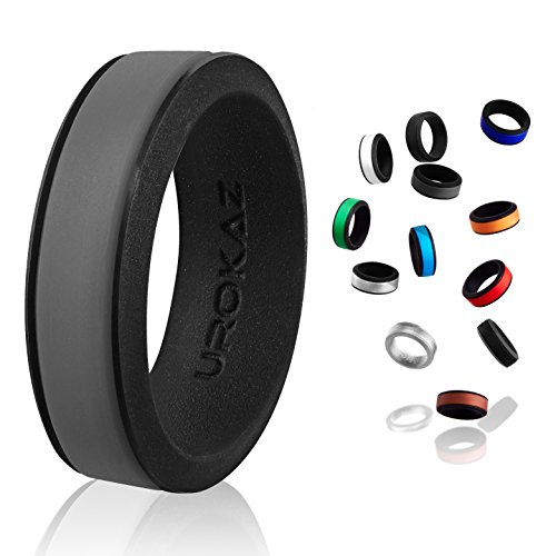 UROKAZ - Silicone Wedding Ring, The Only Ring That Fits Your Lifestyle - Whether You are Single or Married, Ring is Right for You - It is Fashionable, Flexible, and Comfortable (Diamond Hammered Wedding Band)