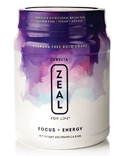 Zurvita- Zeal for Life- 30-Day Wellness Canister- Bold Grape (Guarana Free)- 420 grams
