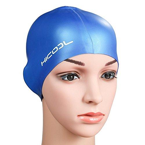 Bonnet de Bain, Hicool Bonnet de Piscine en Silicone Étanche Tient Bien sur Tête pour Homme et Femmes