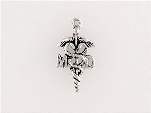 Sterling Silver MD Caduceus Charm Jewelry Making Supply, Pendant, Charms, Bracelet, DIY Crafting by Wholesale Charms ()