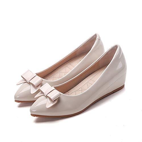 FLYRCX Zapato de cuña de Cuero con Punta de Charol de Mujer Zapatos de Oficina, 40 UE 37 EU