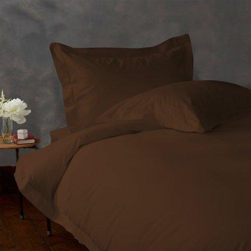 ITALIANO acabado sábana bajera ajustable 500tc algodón egipcio sólida por Lacasa Bedding, Chocolate, Individual extra...