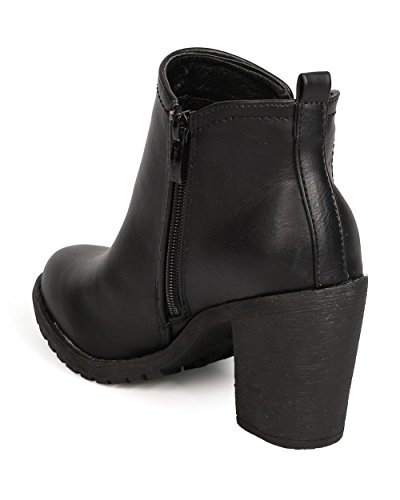 Women Leatherette FF71 Black Chelsea Nature Heel Chunky Boot Breeze pqExOwxv