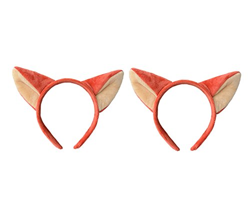 Headband Fox Ears Cute Fashion Hoop Hairband Christmas Party Birthday Headwear Cosplay Costume for Girls Boys Toddlers Kids Adults (2 red fox)