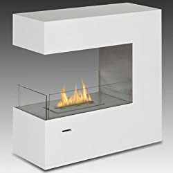 Gloss White Paramount Free Standing / Built-In Ethanol Fuel Fireplace