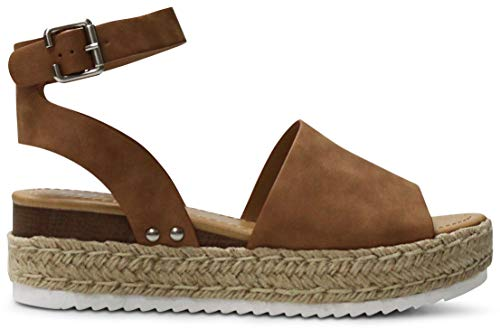 (AFFORDABLE FOOTWEAR Women's Open Toe Ankle Strap Espadrille Wedge Sandal - (Tan NBPU) - 8)
