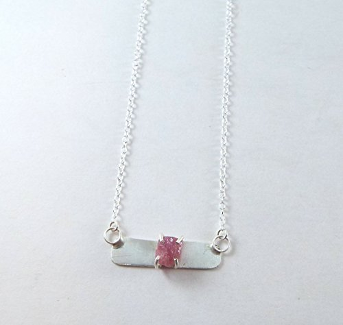 *DISCONTINUED* Raw Ruby Bar 4 Prong Sterling Silver Simple - Raw Ruby