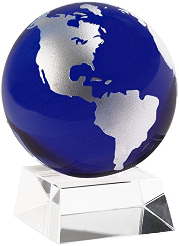 (Amlong Crystal 3 Inch Blue Globe with 2 Inch Crystal Stand and Gift Box )