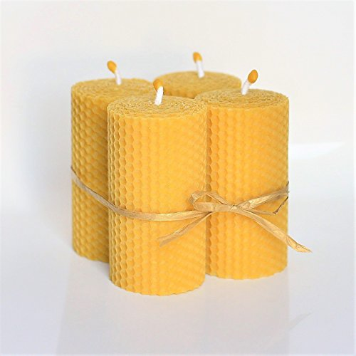 Beeswax Candle Pillar (100% Beeswax Pillar Candles Set of 4 Size 4 x 2 in (10 x 5 cm) Hand Rolled Natural and Lovely Honey Scent 100% Handmade)
