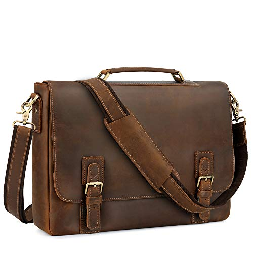 Kattee Men's Leather Satchel Briefcase, 15.6' Laptop Messenger Shoulder Bag Tote