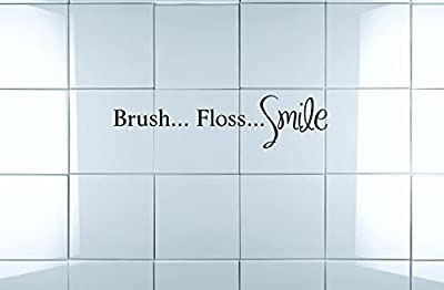Design with Vinyl Moti 2241 3 Decal - Peel & Stick Wall Sticker : Brush. Floss. Smile Text Lettering Bathroom Quote Color: Black Size 10 Inches x 40 Inches