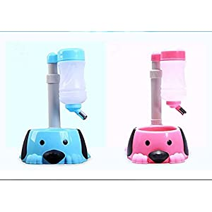 1pcs Free-Standing Dog Cat Water Bottle & Bowl: Stable with Enclosed 'Water-Weight Holder', Height-Adjustable two function top quality (pink)