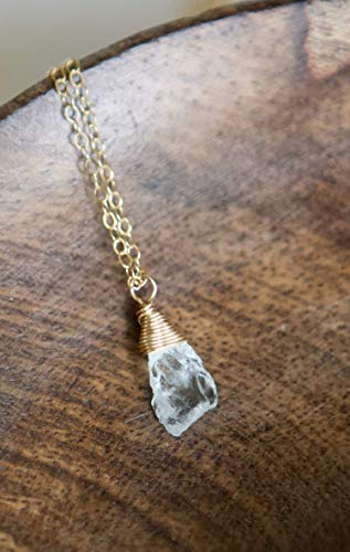 Raw Blue Aquamarine Freeform Dangle Gold Filled Necklace - 16
