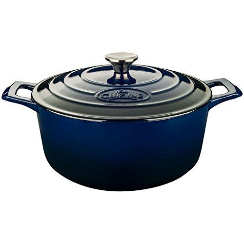 La Cuisine 5 Qt  Enameled Cast Iron Covered Round Dutch Oven, Blue