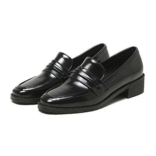 Amoonyfashion Damesschoenen Vierkante Teen Pu Stevige Lage Hakken Pumps-schoenen Zwart