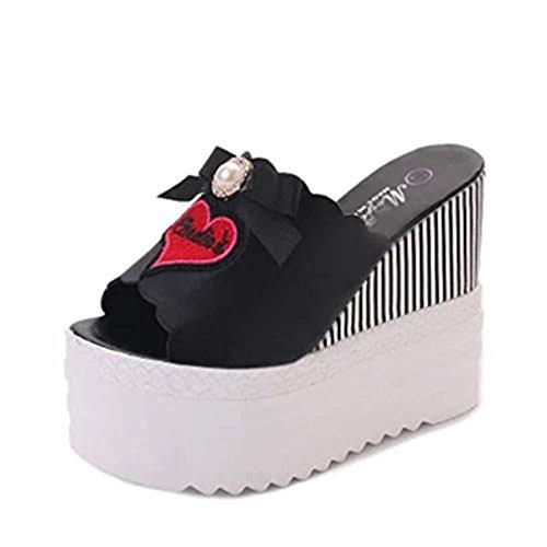 T-JULY Women's Embellished Loving Heart Bowknot Wedge Platform Slide Sandals Peep-Toe High Heel Summer Beach Sandals Black