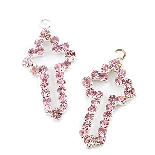 Factory Direct Craft Pink Rhinestone Cross Charms   24 Pieces
